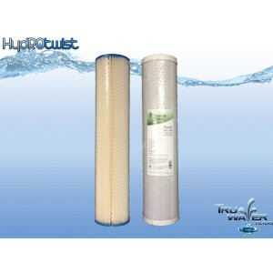 Twin Wholehouse Replacement Water Filter Set Pleated + CBC
